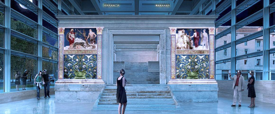 Tourist with AR VR headset inside the Ara Pacis in Rome