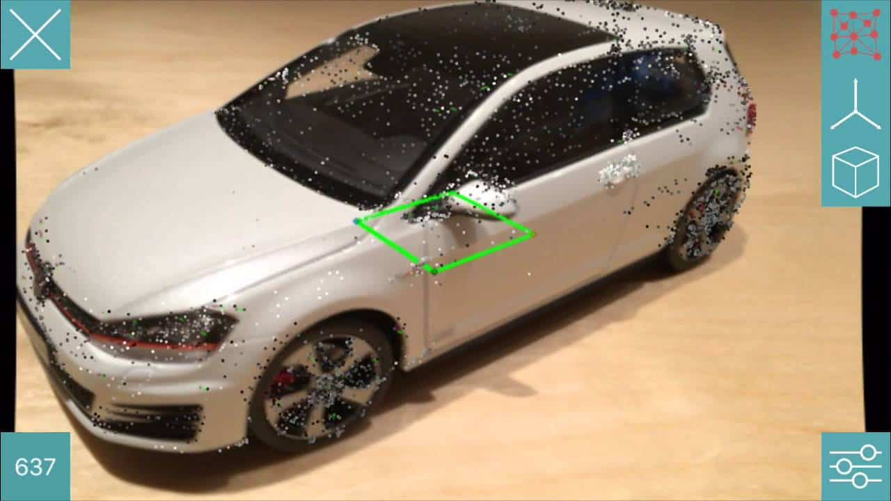 volkswagen golf car model augmented reality object tracking