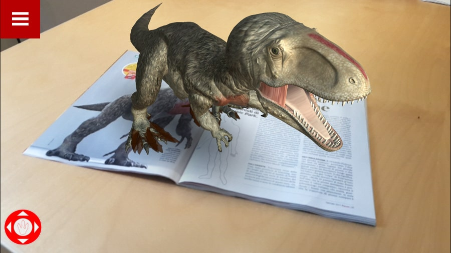 Augmented Reality for publishing on magazine with 3D dinosaur