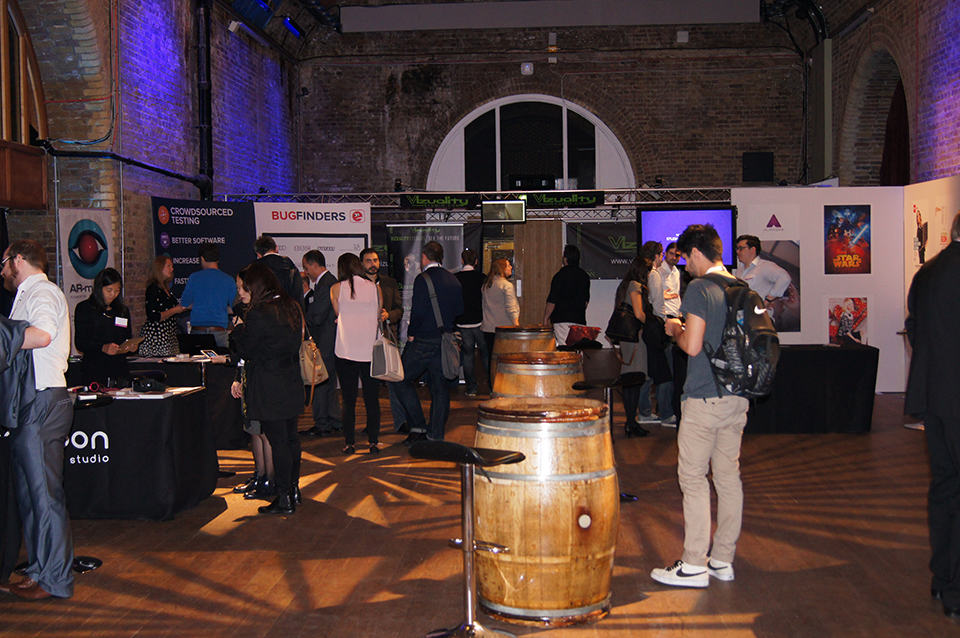 Visitors attending The Tech Expo 2015 exhibit in London