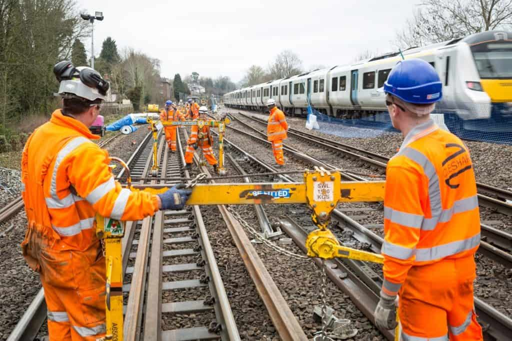 Workers maintenance on the railway