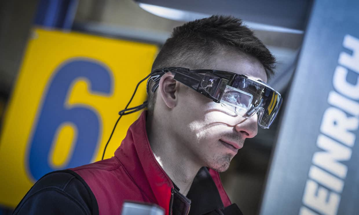 Worker wearing augmented reality smartglass for Safety VisionAR