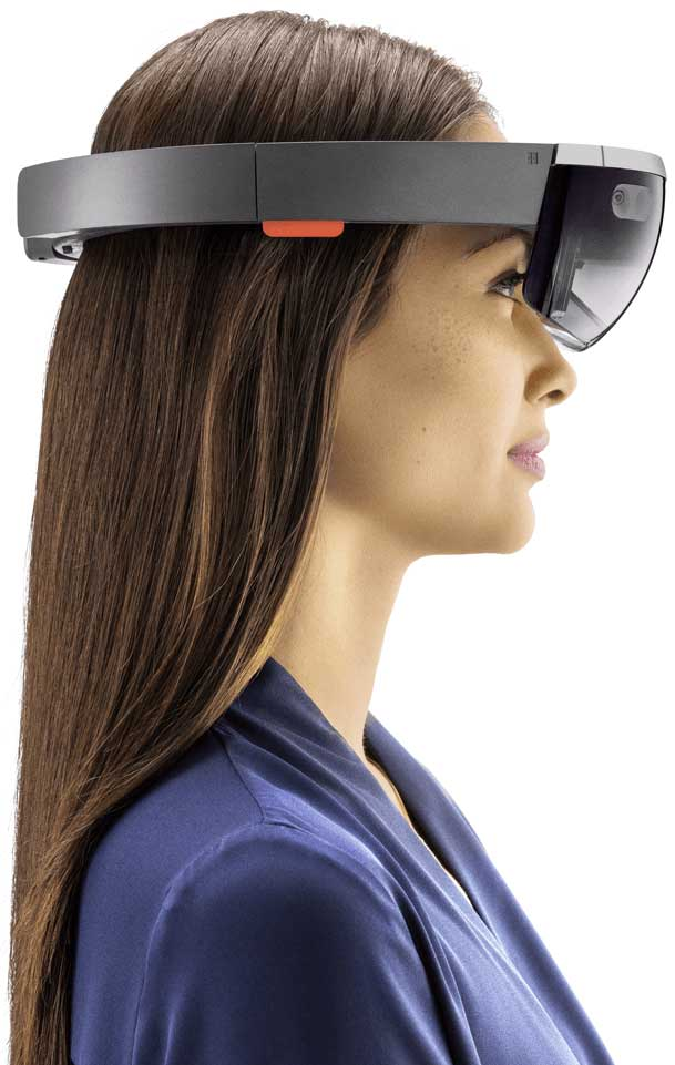 girl wearing an augmented reality headset microsoft hololens