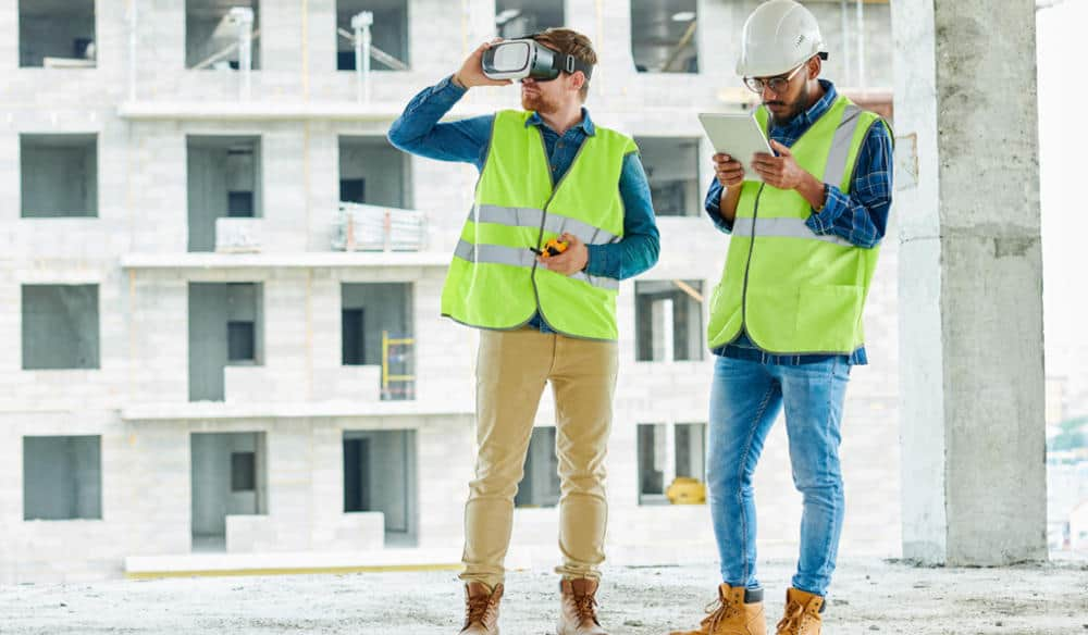 Architects and Engineers on Construction site with AR VR headset