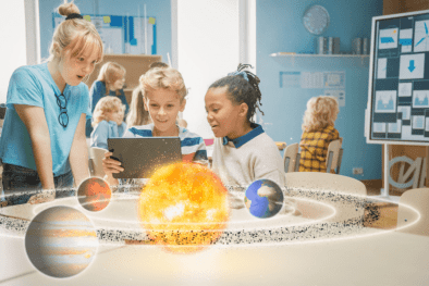 Students at school using Augmented Reality